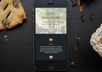 Dudok rendezvényház weboldal fejlesztés